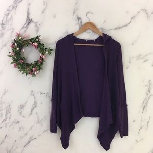 💜Gibson Thermal Waffle Knit Hooded Open Cardigan